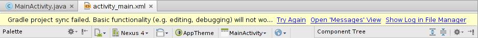 """Mensagem de erro """"Gradle project sync failed."""""""