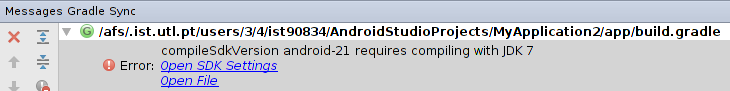 "Erro ""compileSdkVersion android-21 requires compiling with JDK 7"""
